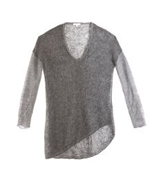 Bare Boucle Top by Helmut Lang. CURRENTLY OUT OF STOCK This sheer loose-knit top has a boat-neck and extra-long sleeves with a long uneven hem. #Matchesfashion