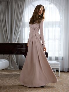 This one in a lightweight satin or crepe, with a crinoline, and a draping cloak train  in chiffon. It's perfect!