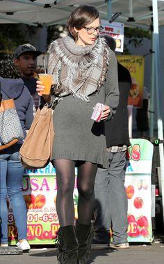 dress milla jovovich sweater sweater dress scarf boots bag fall outfits