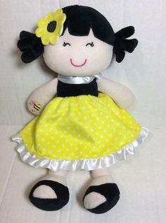 "Baby Starters Black Yellow Bee Dress Doll Plush Soft Toy 11"" Stuffed A31169H #BabyStarters"