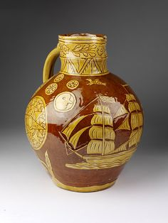 Earthenware Jug with incised slip decoration. Made in Fremington, England by Edwin Beer Fishley. Glazes For Pottery, Ceramic Pottery, Pottery Art, Pottery Workshop, Pottery Studio, Ceramic Painting, Ceramic Art, Earthenware, Stoneware
