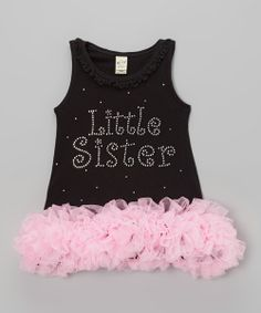 This charming dress shows that little sis has big style with a sparkling rhinestone message and oodles of glamorous ruffles. A slip-on fit means this show-stopping look is soft and comfy, too!Polyester / cottonMachine wash; hang dryMade in the USA