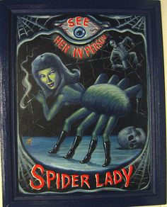 Spider Lady cool vintage circus freak show retro kitsch sign for halloween decoration