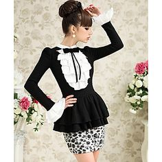 Pink Doll Leopard Splicing Ruffle Peplum Mini Dresses – USD $ 76.29