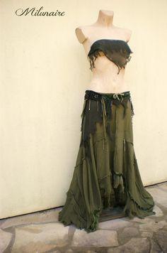 Jupe vert kaki post-apocalyptique, rock, gothique, bohème