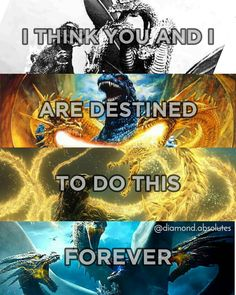 """""""I think you and I are destined to do this forever. All Godzilla Monsters, Godzilla Comics, Cool Monsters, Godzilla Franchise, Monster House, Creature Feature, King Kong, Pokemon, Dark Knight"""