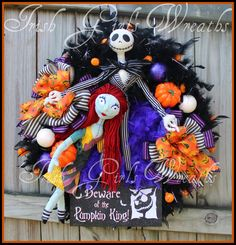 I AM the Pumpkin King large pre-lit Nightmare Halloween wreath, Jack & Sally Skellington, jack o lantern lights, black, purple, Beware by IrishGirlsWreaths on Etsy