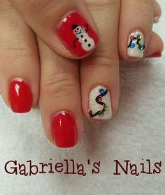 Christmas nail art gel polish Christmas lights and snowman. Red and winter white glitter