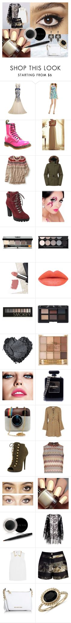 """""""0278"""" by doglover43 ❤ liked on Polyvore featuring Sephora Collection, Shoshanna, Dr. Martens, maurices, The North Face, Nine West, Bobbi Brown Cosmetics, Witchery, Sigma and Forever 21"""