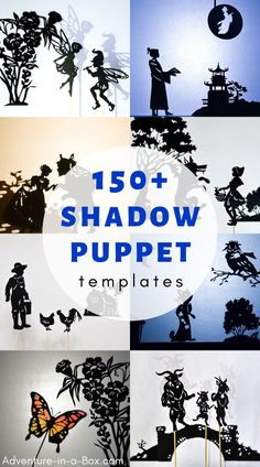 Puppet Templates A big collection of shadow puppet templates to print and make - setting up a shadow play at home will be easy and fun!A big collection of shadow puppet templates to print and make - setting up a shadow play at home will be easy and fun! Shadow Art, Shadow Play, Puppet Resources, Shadow Puppets With Hands, Art For Kids, Crafts For Kids, Puppet Patterns, Doll Patterns, Shadow Theatre