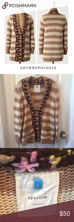 """Anthropologie Sparrow Hopi Basket Striped Cardigan Anthropologie Sparrow Hopi Basket Striped Cardigan. 19.5"""" bust. 30"""" long. Thick Knit. Tan and cream. Gently worn. Great condition. Feel free to make an offer or bundle & save! Anthropologie Sweaters Cardigans"""
