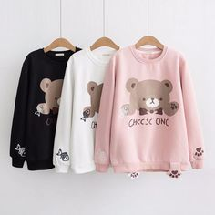 Pink/white/black bear printing sweatshirt SE11046      Use coupon code #cutekawaii for 10% off       #clothes #clothing #kawaii #cute #pullover #hoodie #valentinesday #valentine