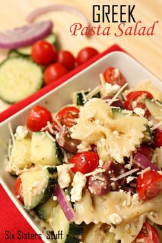 This Greek Pasta Salad is so flavorful and delicious!
