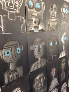 Inspired by the amazing illustrations in Ted Hughes' novel 'The Iron Man', we sketched and shaded our own Iron Man portraits using white chalk and black pastel on black cardstock. We learned that it.