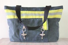 Recycled Firefighter Turnout Tote Bag with front by Reskugear, $175.00