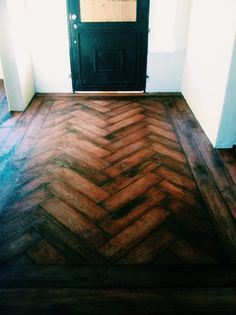 A Herringbone Entryway. Done by Todd's Hardwood Flooring.