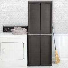 4 Shelf Cabinet Storage Adjustable Garage Basement Home Organization Flat Gray