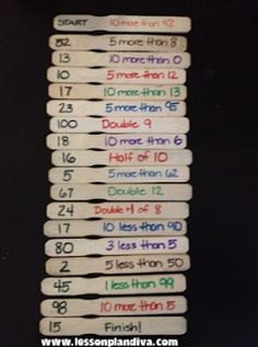 (ignore the numbers on the left hand side)...Classroom DIY: DIY Mental Math Game