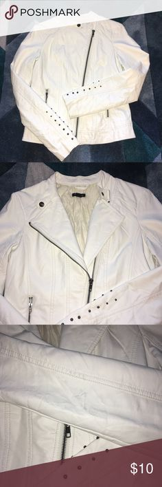 White Leather Jacket This jacket is adorable, however it has its flaws.   There are some marks on it, I've never tried to clean. It has been stored in a box. This is a project Jacket, if you want to try and clean it. I know there are ways, I just don't have any desire to do it lol I've tried my best to show the condition in the pictures. Feel free to ask questions... it's priced accordingly:) I ❤️ Ronson Jackets & Coats