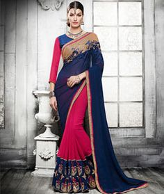 Buy Navy Blue Georgette Half and Half Saree 76266 with blouse online at lowest price from vast collection of sarees at Indianclothstore.com.