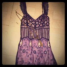 PRICE DROP Betsey Johnson Lace Top A purple lace over pink tank top. Size 6 but runs small. Betsey Johnson Tops