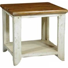 French Provencal Shabby Chic end tables with bottom shelf.  These are simple enough to make and could be matched to your butcher block countertops.