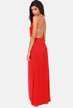 Red Spaghetti Strap Backless Maxi Dress 21.49
