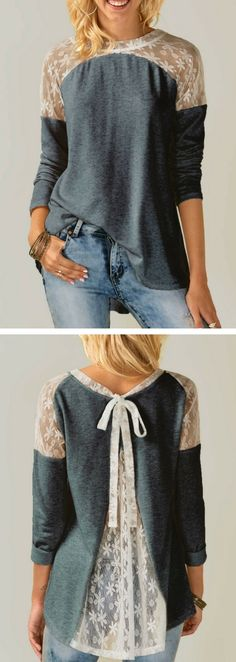 Tie Back Long Sleeve Lace Panel Grey Blouse, blouse, fall blouse, long sleeve blouse, blouse for women, cute blouse, modest blouse, fall outfits, tunic blouse, womens fashion, lace panel blouse, classy blouse, top, tops, blouse outfits, top outfits, top outfits for women, free shipping worldwide at rosewe.com.