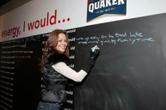 """Quaker Oats teamed up with filmmaker Jordan Vogt-Roberts to produce a short film about the so-called """"human energy crisis"""" (or, people's low energy in a fast-paced world). The brand showed the video in a pop-up setting that had a chalkboard. Visitors could write on the chalkboard to fill in the blank after the phrase: """"If I had more energy, I would..."""""""