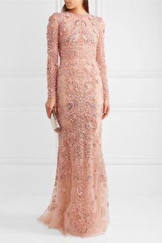 Pastel-pink silk-tulle Concealed hook and zip fastening at back silk; Pink Sequin Dress, Pink Silk Dress, Pink Gowns, Pink Floral Dress, Colored Wedding Gowns, Wedding Dress, Zuhair Murad Dresses, Sequin Evening Gowns, Tulle Gown