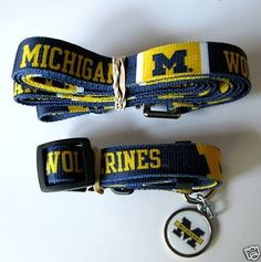 Hunter University of Michigan Pet Combo Set Collar Lead ID Tag XSmall -- Continue to the product at the image link.(This is an Amazon affiliate link and I receive a commission for the sales)