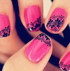 Pink Nails With Lace Fringe