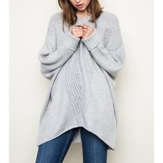 "X ""Anaphora"" Loose Long Sleeve Sweater Top Loose oversized long sleeve sweater top. Goes amazing with denim. Super soft and comfy. Available in grey and taupe. This listing is for the GREY. Brand new. True to size. ABSOLUTELY NO TRADES. Bare Anthology Sweaters V-Necks"