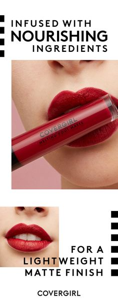 Get high-impact, super rich color with a lightweight, matte finish. COVERGIRL Melting Pout Matte Liquid Lipsticks are infused with nourishing ingredients that glide on smoothly every time. Metallic Lipstick, Matte Lipstick, Lipstick Colors, Liquid Lipstick, Lip Colors, Lipsticks, Lipstick Dupes, Lipstick Swatches, Makeup Tips