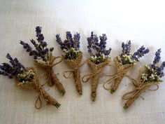 Dried lavander boutonniere set of 6 wedding by FlowerDecoupage, €18.00