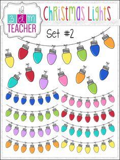 Holiday/ Christmas Lights Clipart Set #2 by The 3AM Teacher!! $3.50