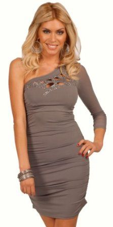 Long Sleeve One Shoulder Laser Cut Rhinestone Design Fitted Cocktail Party Dress 	$34