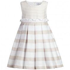 08033850bf15 Mayoral Stripe Beige Cotton Dress at Childrensalon.com. jerry yang ·  children · Burberry Kids 1823 Lattice ...