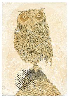 Geometric Owl Archival Art Print by Paula by lovelysweetwilliam
