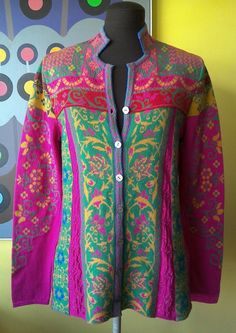 Lovely bright colourful jacket from pure cotton.. Rare piece. EU label stats 36 but it is more a EU 38 even EU 40 depending would you like it to be more fitted. UK 10,12. Please don't hesitate to ask if you have some questions and try to visit my listings.. There are many interesting items and I combine postage.. Best wishes | eBay!