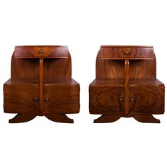 Art Deco French Bedside Cabinets in Burr Walnut | From a unique collection of antique and modern night stands at https://www.1stdibs.com/furniture/tables/night-stands/