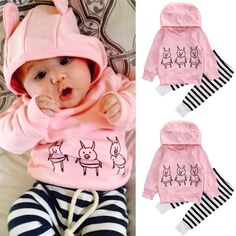 a7f156e3b3aca Striped Toddler Infant Baby Girls Clothes Tops Hoodie T-shirt+Long Pants  Outfit Girls