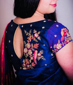 YOU are the Style statement! Anamika strive to showcase the beautiful you with  eye-catchy and colorful designs. Beautiful royal blue color blouse with floral and bird design hand embroidery bead and thread work.  04 February 2018 Bridal Blouse Designs, Sari Blouse Designs, Saree Blouse Patterns, Blouse Designs Embroidery, Hand Embroidery, Designer Blouse Patterns, Blouse Models, Blouse Neck, Blouse Dress