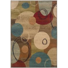Spice up the decor in any room of your home with this machine-woven abstract rug. It features rich hues of various colors including blue and red to help bring out the best in other colors of your home, and was made with durable material to last years.