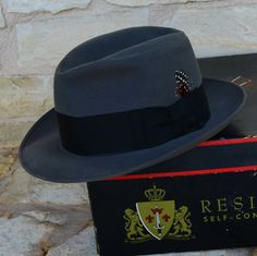 1950s Resistol Fedora  Gray With Red Feather by abbeysaccessories, $95.00