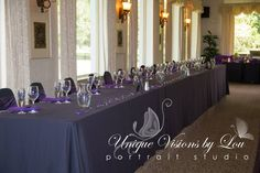 Black and Purple Formal Head Table!  Photo Credit: Unique Visions by Lou