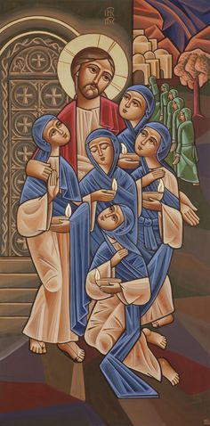 COPTIC  icon__ Christ & Handmaidens - Holy Tuesday - Icon by Fadi Mikhail 2014