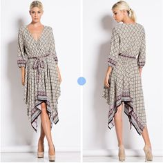 Beautiful Dress 3/4 sleeve,Border Print Dress. Material-100% Rayon. Available in S,M,L Dresses Midi