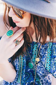 Vintage statement jewelry and summer rompers. #bohochic #fashion #dress #style #gifts #bracelet #ring #necklace #accessories