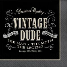 Vintage Dude Lunch Napkins 3 Ply 192 Case 40th Birthday PartiesBirthday Celebration50th